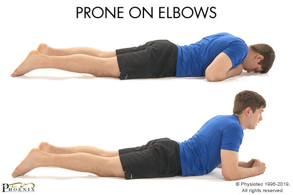 prone elbow back pain ecercise
