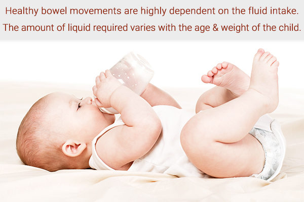 maintain adequate fluid intake to manage infant constipation