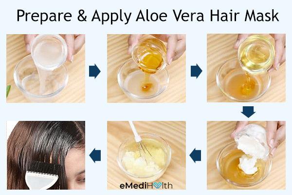 prepare and apply aloe vera hair mask