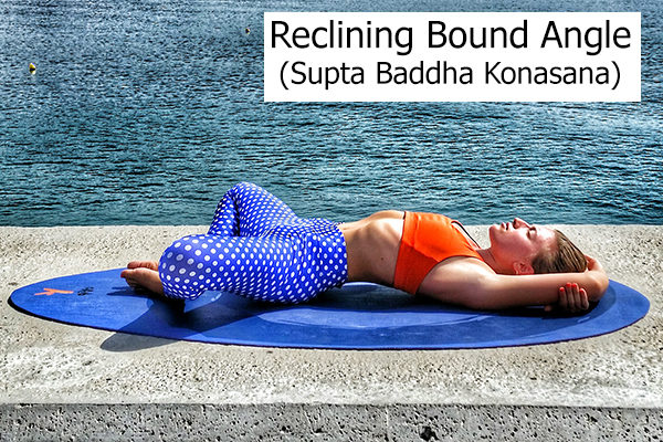 reclining bound angle yoga pose