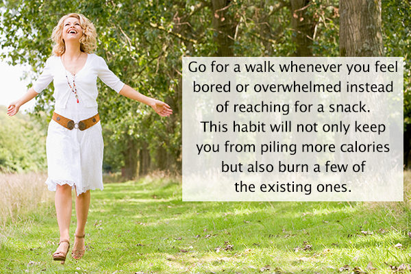 going for a walk can help deal with hunger pangs and cravings