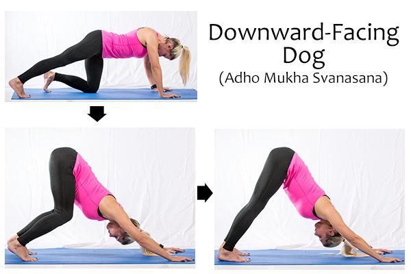 downward-facing dog pose (adho mukha svanasana) to reduce shoulder and neck tension