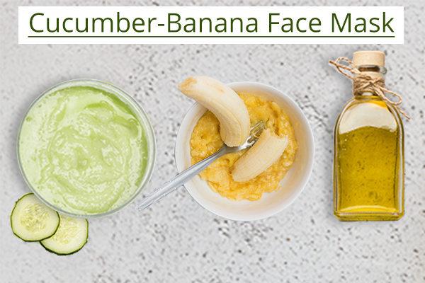 DIY cucumber-banana face mask ingredients