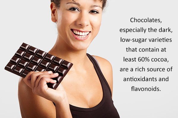 dark chocolate helps promote heart health and reduces cholesterol