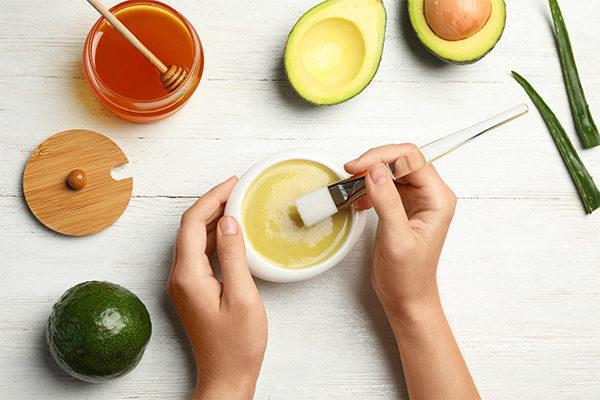 honey, avocado, and aloe vera mask
