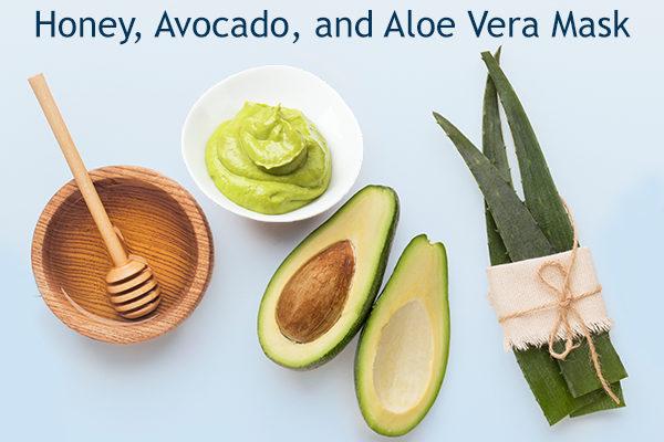 honey, avocado, and aloe vera mask ingredients