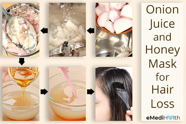 steps for preparing onion juice and honey mask
