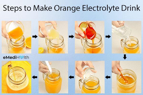 steps to make a diy orange electrolyte drink