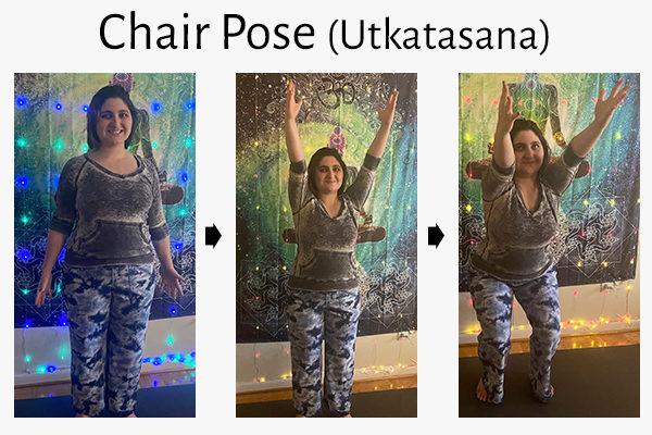 chair yoga pose (utkatasana)