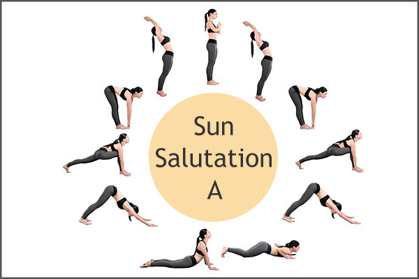 sun salutation A yoga pose to relieve constipation