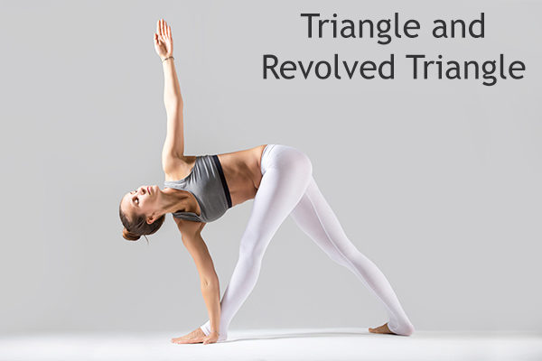 triangle and revolved triangle yoga pose to relieve constipation