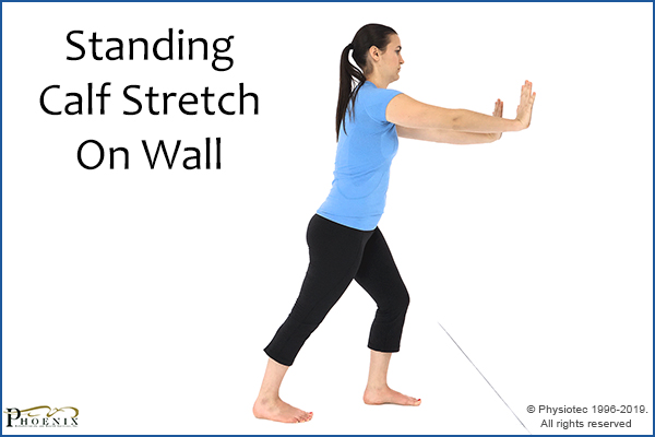 standing calf stretch on wall
