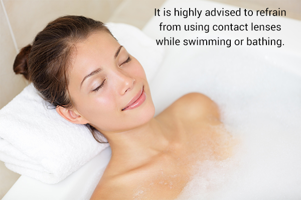 refrain from using contact lenses when bathing or swimming