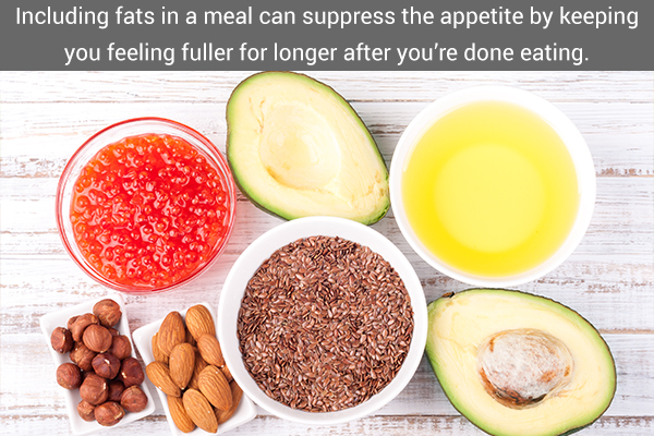 Including fats in a meal can suppress the appetite