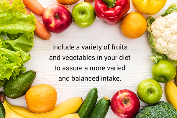 include colorful fruits and vegetables in your diet