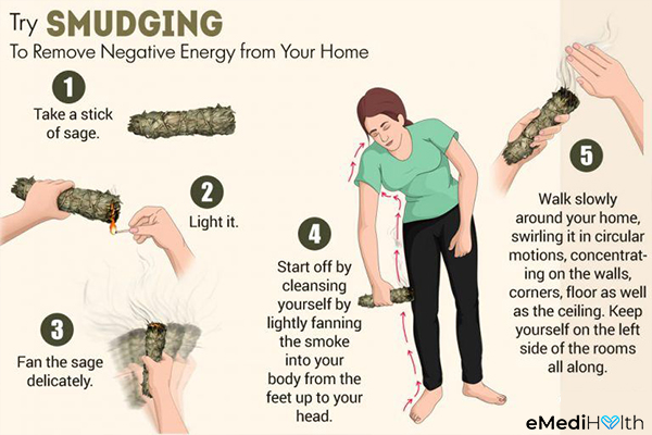 smudging to remove negative energy from your home