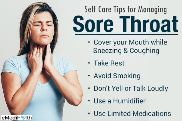 self-care tips to manage sore throat