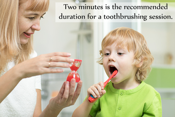 recommended duration for a toothbrushing session