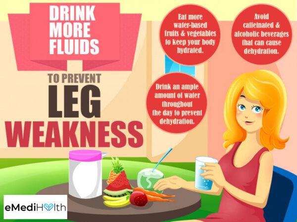 drinking more fluids can help prevent leg weakness