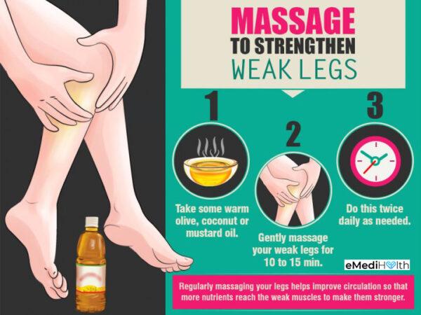 getting a leg massage can help strengthen weak legs