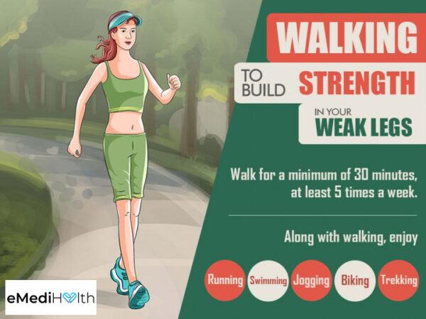 going for regular walks can help prevent weak legs