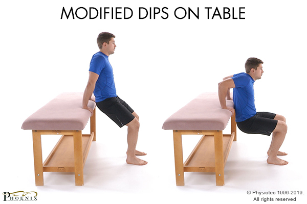modified dips on table
