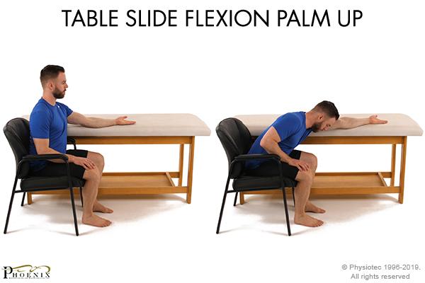 table slide flexion palm up