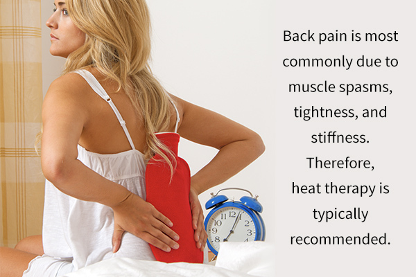 heat therapy is usually advised for back pain relief
