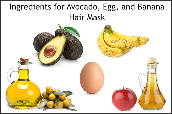 avocado, egg, and banana hair mask ingredients