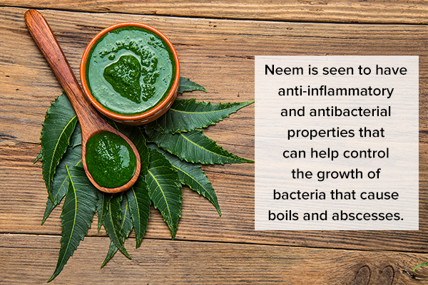 neem leaves can help control boils and abscesses