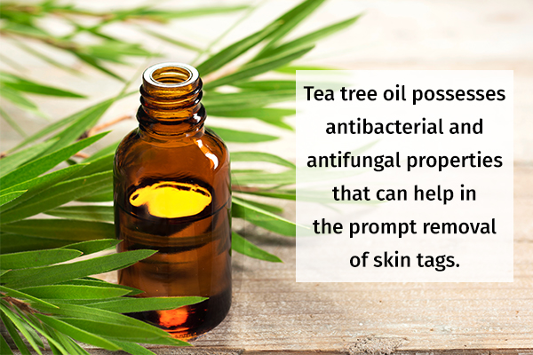 apply diluted tea tree oil on skin tags