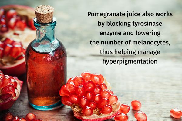 pomegranate juice can help manage hyperpigmentation