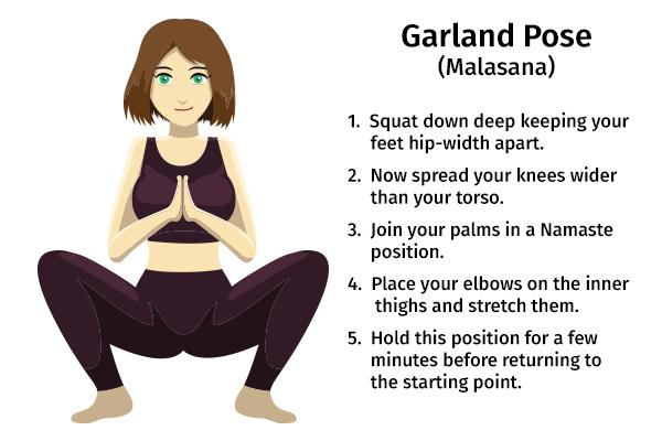 garland pose (malasana) for easing menstrual discomforts