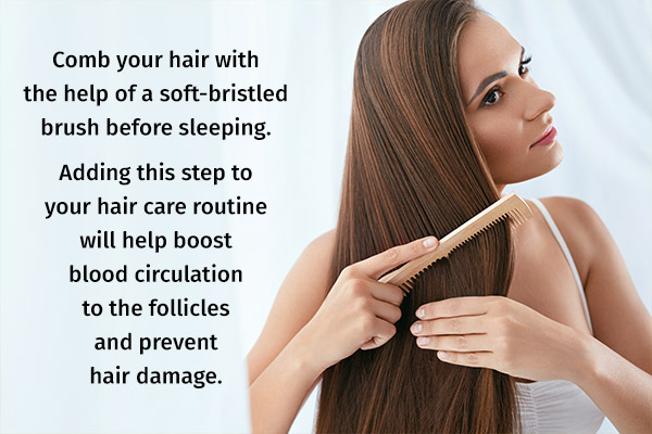 combing hair before sleeping can help prevent hair damage