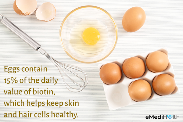 eggs can help promote skin and hair health as well