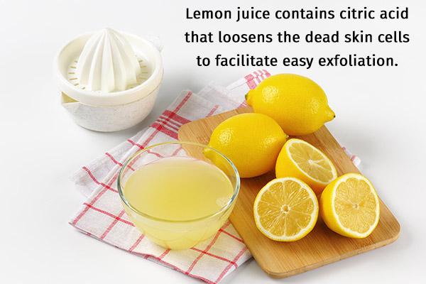 lemon juice is replete with vitamin C and ensures healthy skin