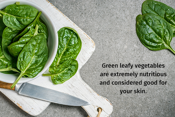 spinach is extremely nutritious and good for your skin