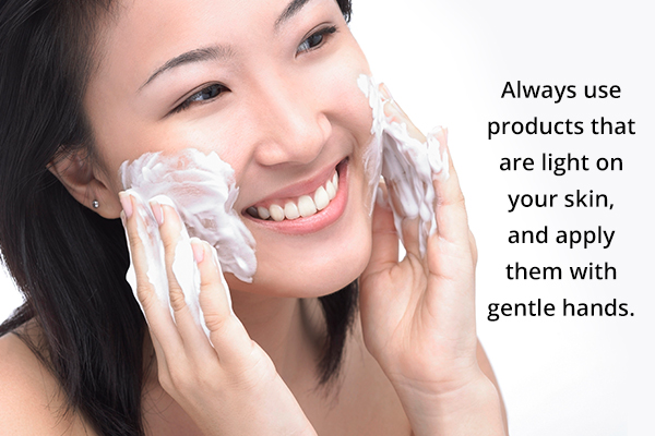 cleaning your skin harshly or excessively is harmful as well