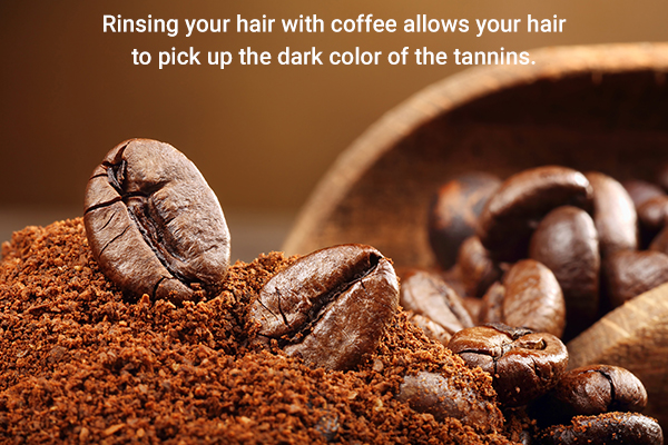rinsing hair with coffee imparts a dark color to your hair