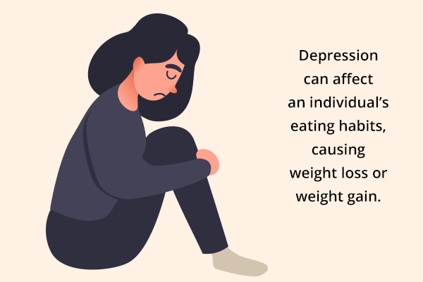 depression can affect a person's habit and cause weight loss