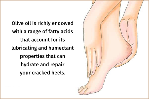 olive oil helps hydrate and repair your cracked heels