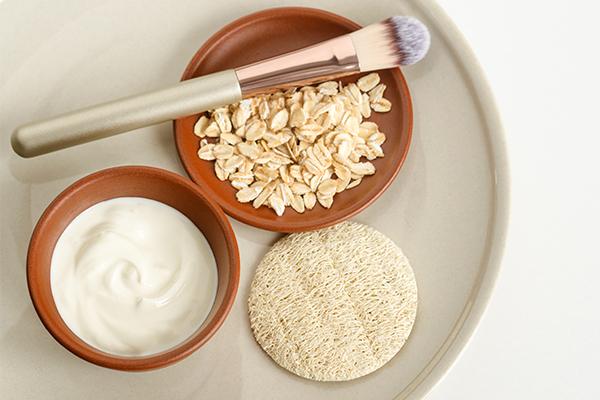 an oatmeal-yogurt face mask can help soothe irritated skin