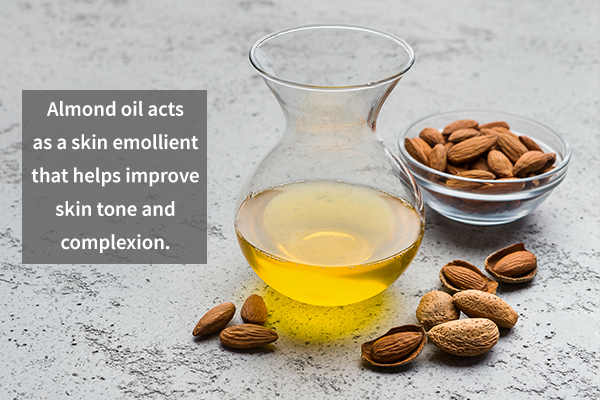 almond oil helps improve skin tone and complexion