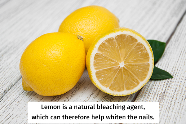 lemon is a natural bleaching agent and can help whiten nails