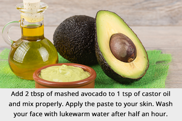 avocado and castor oil mask can help manage crow's feet
