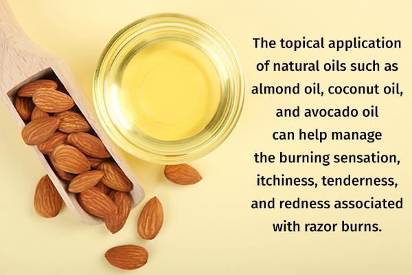 applying natural oils can help manage razor burns