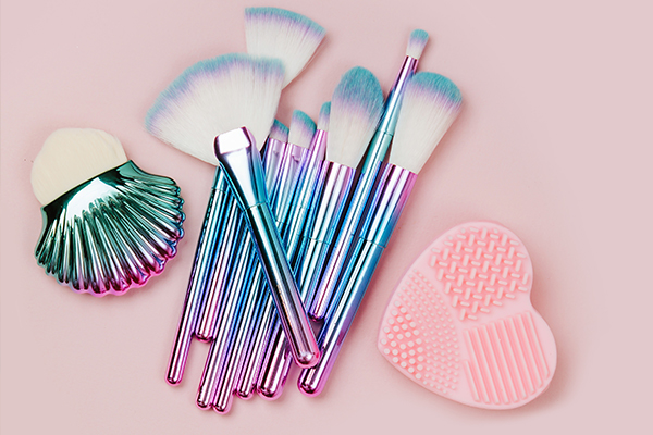 try using makeup brush cleaning mats to clean your brushes