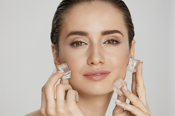 massaging your face with ice leaves your skin soft and smooth