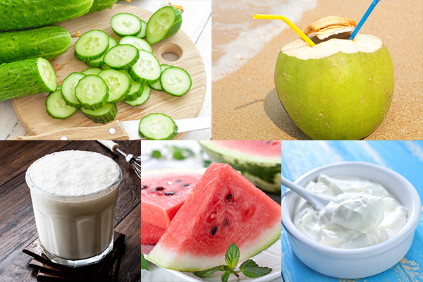 eat cucumbers, coconut water, buttermilk etc. during summers