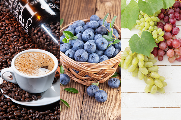 coffee, blueberries, and grapes are good for liver health